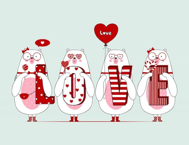 Mignons ours de valentine avec