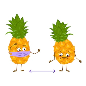 De mignons personnages d'ananas avec des émotions, un visage et un masque gardent la distance, les bras et les jambes. le héros drôle ou triste, fruit avec des yeux. télévision illustration vectorielle