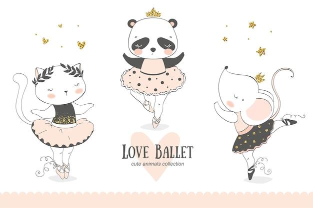 Mignons petits animaux, collection de dessins animés de danseuse ballerine