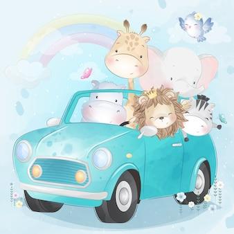 Mignons petits animaux conduisant une voiture
