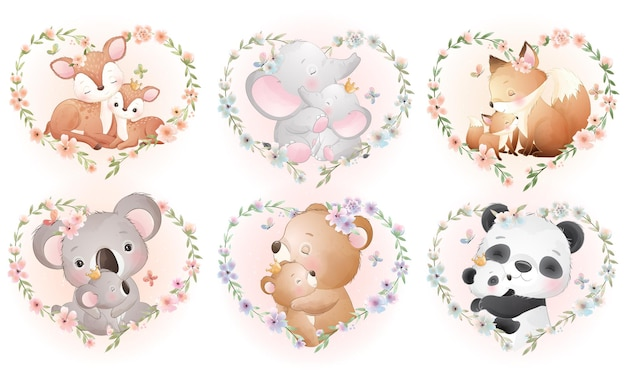 Mignons petits animaux avec couronne florale pour la collection de la fête des mères