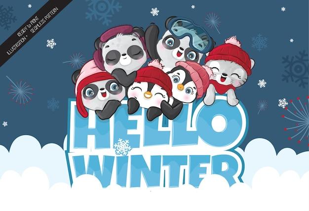 Mignons petits animaux heureux hiver saison illustration de fond