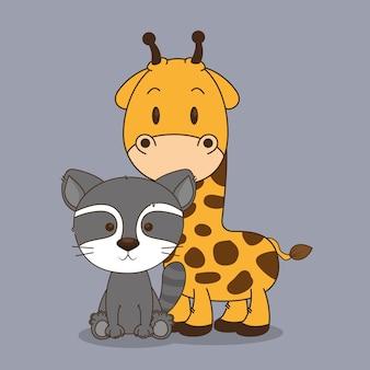 Mignons et petits caractères de raton laveur et de girafe
