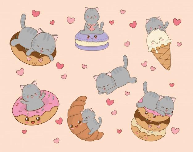 Mignons petits chats avec des émoticônes caractères kawaii