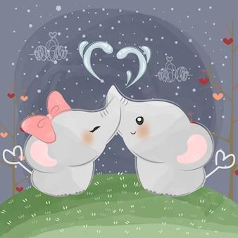 Mignons petits éléphants avec de l'eau d'amour