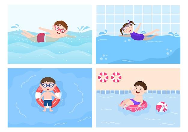 Mignons petits enfants natation fond illustration vectorielle dans le style de dessin animé plat. les gens s'habillent de maillots de bain, nagent en été et font des activités aquatiques