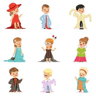 Mignons petits enfants portant des vêtements adultes surdimensionnés élégants, des enfants se faisant passer pour des adultes illustrations