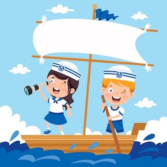 Mignons petits enfants en uniforme de marin