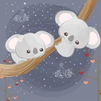Mignons petits koalas amoureux