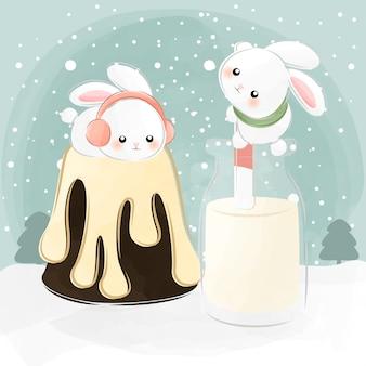 Mignons petits lapins allongés sur un gâteau
