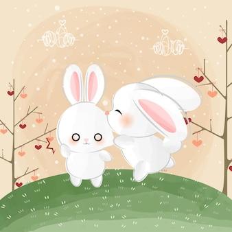 Mignons petits lapins et baiser