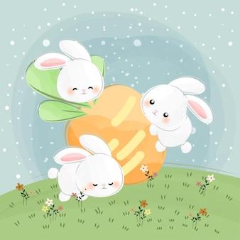 Mignons petits lapins et carottes