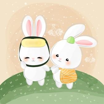 Mignons petits lapins comme sushi