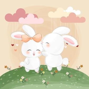 Mignons petits lapins, fleurs et amour
