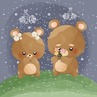 Mignons petits ours dans la nuit tenant des fleurs