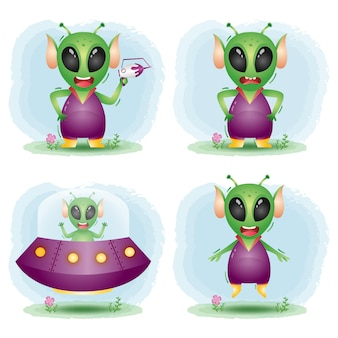 Mignons petits personnages extraterrestres