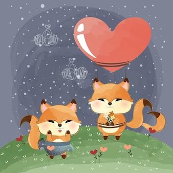 Mignons petits renards amoureux