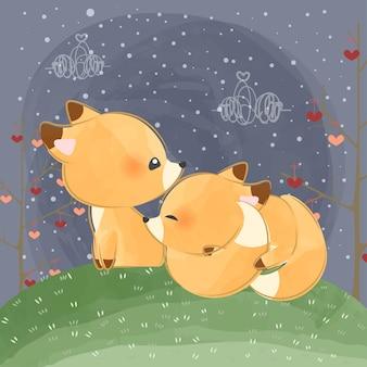 Mignons petits renards endormis