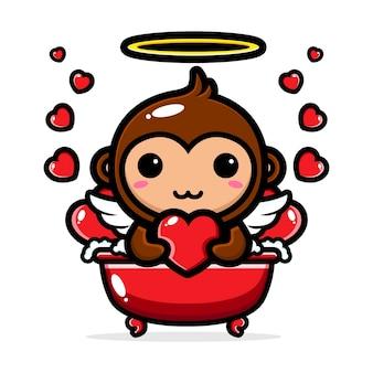 Mignons singes cupidon tremper dans une baignoire d'amour