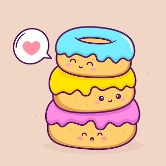 Mignons trois beignets avec des couleurs différentes