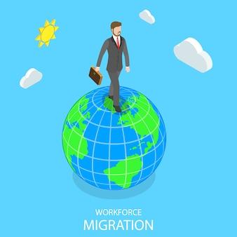 Migration des effectifs isométrique plate