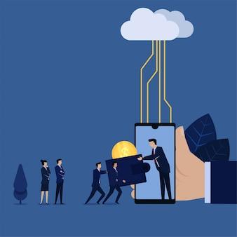 Migration professionnelle du portefeuille classique au paiement en ligne avec un serveur cloud.