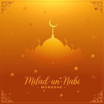 Milad un nabi carte festival islamique fond doré