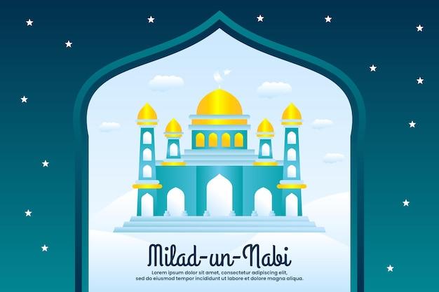 Milad un nabi mubarak salutation du festival avec fond de mosquée