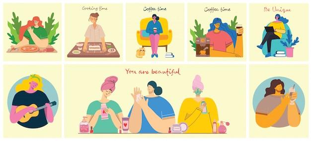 Milieux d'activités féminines. femmes faisant du yoga, cuisine, lecture et concept de travail dans le style plat