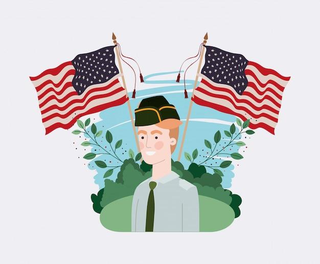 Militaire, drapeau usa, dans, les, champ