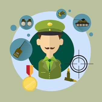Militaire man commander icon illustration vectorielle plane