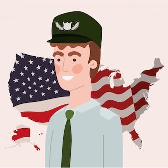 Militaire, usa, carte, et, drapeau