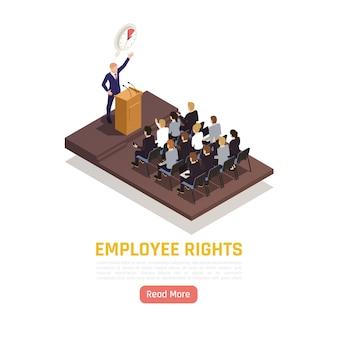 Un militant syndical prononce un discours devant les employés de l'entreprise lors d'une réunion avec une bannière isométrique