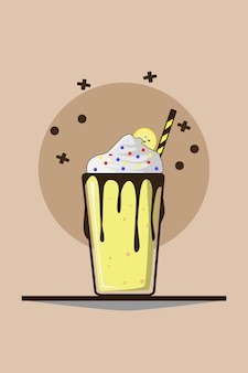 Milkshake à la crème fouettée et à la banane
