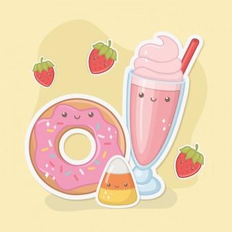 Milkshake délicieux et doux et produits caractères kawaii