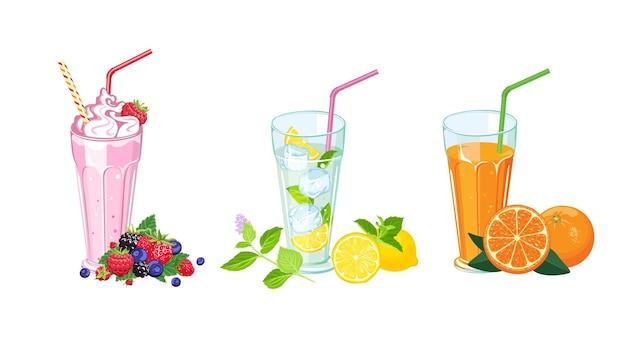 Milkshake, jus de fruits frais et boisson mojito en verre.
