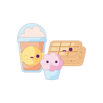 Milkshake avec set de nourriture style kawaii