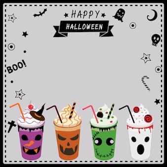 Milkshakes décorés pour la fête d'halloween.