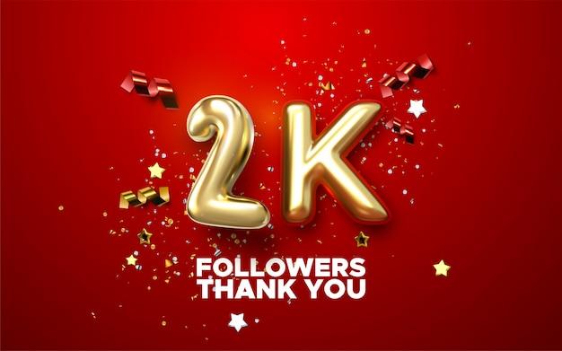 Mille. merci les abonnés. illustration 3d pour la conception de blog ou de poste. signe d'or 2k avec des confettis sur fond rouge.