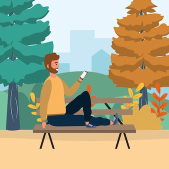 Millenial person smartphone bench bench