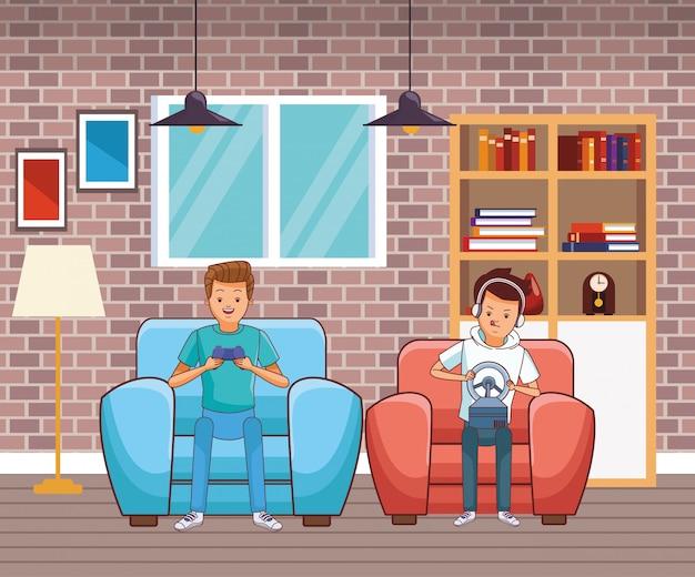 Millennials et dessins animés de jeux vidéo en noir et blanc