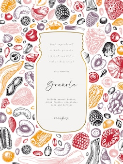 Millésime de granola. illustration de petit-déjeuner sain de style gravé. granola maison avec différentes baies, céréales, fruits secs et cadre de noix. modèle d'aliments sains avec des éléments gravés