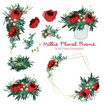 Millie géométrique floral ornement cadre