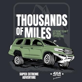 Des milliers de kilomètres, affiche d'une voiture 4x4 advanture