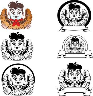 Mime avec croissant, ensemble de logo mascotte