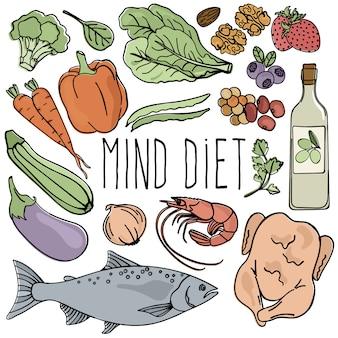 Mind diet vecteur de cerveau nutrition saine