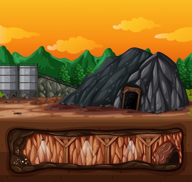 Une mine et une scène souterraine