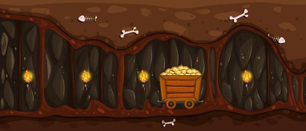Une mine souterraine et une charrette en or