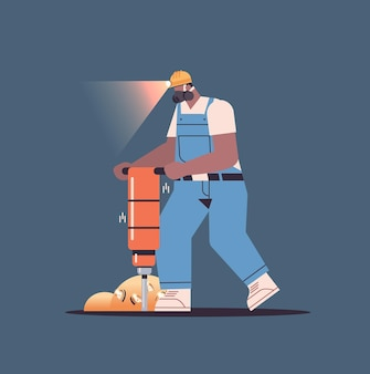 Miner homme creuser et extraire des bitcoins dans la mine cave mining crypto coins crypto-monnaie numérique blockchain concept pleine longueur illustration vectorielle