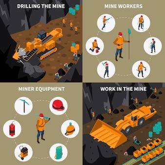 Miner people 2x2 isometric icons set